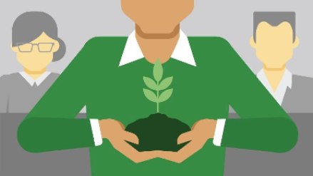 Image of professional holding a growing plant